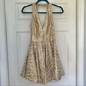 bebe Dresses - Bebe sequined fit & flare dress NWT